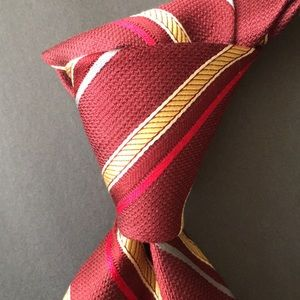 JOS A BANK MADE IN ITALY BURGUNDY W/GOLD STRIPE